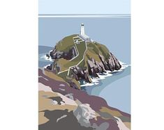 The South Stack Lighthouse on Anglesey Digital Print (Archival) Size x Edition 250 Post & Packing Art Deco Posters, Art Painting, Landscape Artist, Geometric Art Prints, Linocut, Sea Painting, Lighthouse, Art, Interesting Art