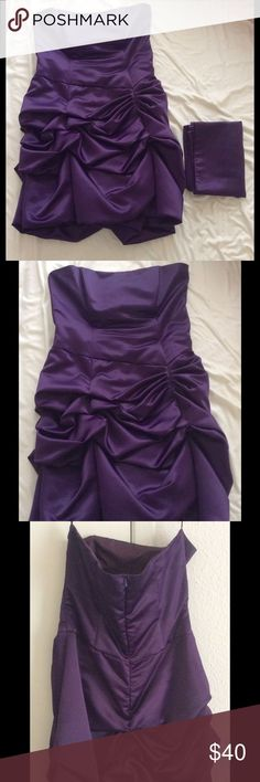 Purple Prom Homecoming Formal Cocktail Mini Dress Size: Large Measurements: Bust - 36 inches, Waist: 30 inches, Length: 30 inches.  Materials: 100% Polyester Hand wash. Comes with sash to wrap around shoulders Star Box Dresses Mini