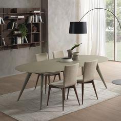 Tavolo da pranzo allungabile Elegance in legno di frassino laccato opaco poro aperto madreperla