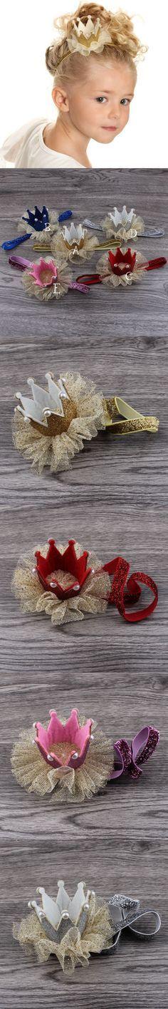 Retail 5colors Newborn Mini Felt Crown+Glitter Elastic Headband For Girls Hair Accessories Handmade Luxe Baby Headbands