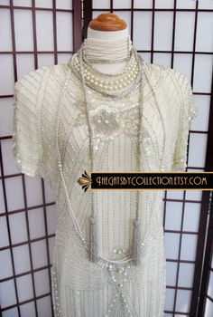 Gatsby+Flapper+Beaded+Ivory+Wedding+Dress+by+thegatsbycollection,+$255.00