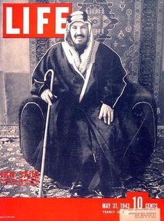 1943 original vintage Life magazine cover featuring Saudi King Ibn Saud.