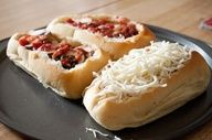 Deep Dish French Bread Pizzas...great idea! Just hollow out and fill with toppings!