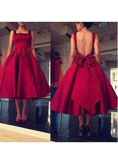 Graceful Satin Square Neckline Tea-length Ball Gown Homecoming Dresses With…