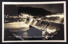 By Nite - Coulee Dam - Water Fall 185 Feet, Real Photo Postcard (RPPC), 1941