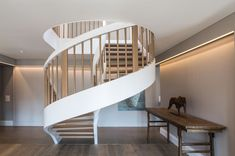 Spiral stair design - Wood and white metal - Penthouse design - Valentine Bärg architectures Spiral Stairs Design, Spiral Staircase, Stair Design, Wood Design, Second Floor, Interior Architecture, Loft, Flooring, Building
