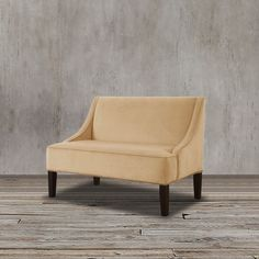Proudly USA made. Complete your living room or any seating area with this unique loveseat. Also used as a banquette bench, this comfy loveseat in classy in velvet upholstery.