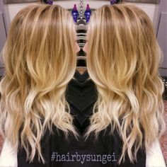 Gorgeous blonde balayage colormelt ombre highlights