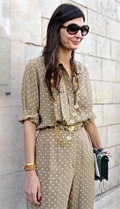 Giovanna Bataglia, polka dots.  Love the gold necklace <3