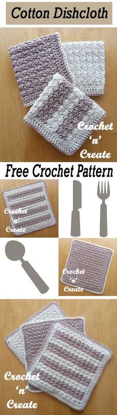 Easy to crochet cotton dishcloth free crochet pattern. These crochet washcloths would make perfect DIY hostess or housewarming gifts!