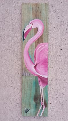Pink Flamingo Painted on Reclaimed Fence Board by GinnysArtWorks