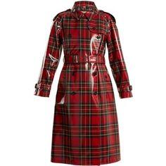 Burberry Laminated-tartan wool trench coat
