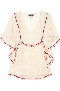 Antik Batik top: cream semi-sheer cotton, split round neck, draped half sleeves, ruching from waist, red bead-embellished embroidered trims. Designer color: Off-White. Embroidered Clothes, Gypsy, Hippie Chic, Handmade Clothes, Boho Tops, Boho Fashion, Kids Fashion, Dress To Impress, What To Wear