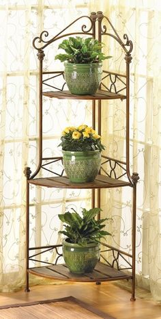 Home garden gardens bakers rack and plants - Corner shelf for plants ...