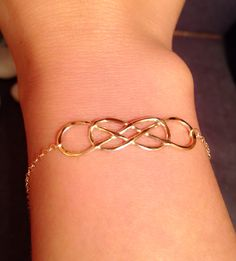 Gold infinity bracelet, 14k Yellow gold double infinity bracelet, bracelet…