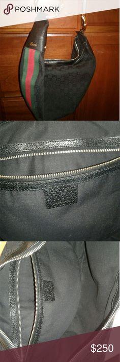 Gucci hobo bag Black w/classic grn/rd detail gold bamboo detail Gucci Bags Hobos