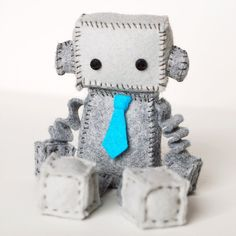 Felt Robot Plush with a Turquoise Blue Tie by GinnyPenny on Etsy, $25.00