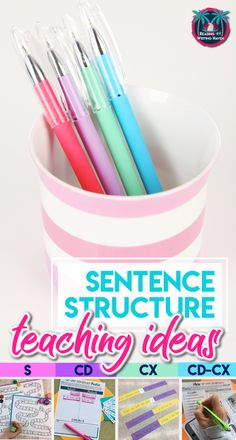 Read about a scaffolded approach for teaching sentence types. Also, find sentence structure activities and a complete teaching unit for Middle School ELA and High School ELA. Middle School Grammar, Middle School Writing, Teaching Grammar, Teaching Writing, Grammar Lessons, Writing Skills, Teaching Resources, Sentence Types, Sentence Structure