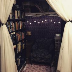 Confessions of a Book Addict More curtai decorate walls My New Room, My Room, Closet Nook, Closet Library, Reading Nook Closet, Library Bedroom, Home Libraries, Room Goals, Decoration Design