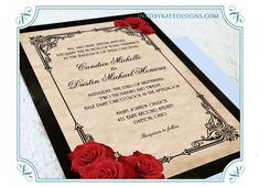 wedding invitations red, black & gold | Vintage Black and Red Romantic Rose Wedding by inkdbykate on Etsy
