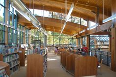 Byram Shubert Library in Greenwich, CT. So light with the wood and natural light. Glulam by Unalam.