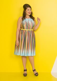Clad in this sky blue dress, you're eager to set your plans into action - and it's no wonder! With its prismatic display of stripes, bright yellow belt, and oh-so silky fabric, this pocketed A-line - part of our ModCloth namesake label - provokes your fervor and sends you out the door with beautiful enthusiasm.