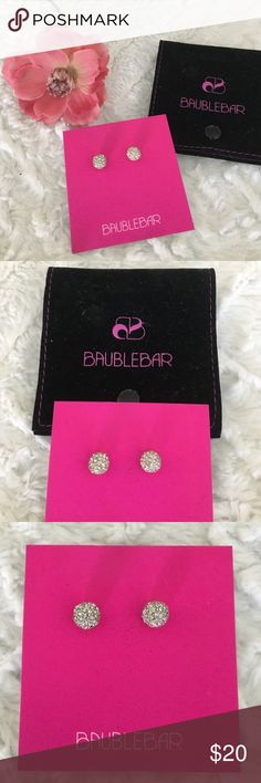 🆕NWT Baublebar Silver Pave Stud Earrings Brand new, never opened or worn! Beautiful silver pave studs from Baublebar. Comes with black Baublebar bag.   🛍 Bundle & Save: 20% off 2+ items!  🙅🏻 No trades / selling off Posh.  ✔️ Reasonable offers always welcome. Baublebar Jewelry Earrings