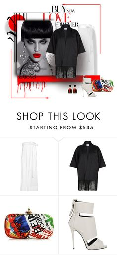 """Red Love"" by michelletheaflack ❤ liked on Polyvore featuring Reeds Jewelers, Cédric Charlier, Claudie Pierlot, Vivienne Westwood, Giuseppe Zanotti, Marni, kimonos and polyvorecontests"