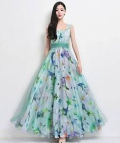 SALE Bohemian Green Blue Floral Print Tulle Chiffon Beach Wedding Bridesmaid A-line Dress Full Pleated Skirt Holiday Prom Party Ball Gown Long Gown Dress, Saree Dress, Tulle Dress, Cute Dresses, Casual Dresses, Fashion Dresses, Beautiful Dress Designs, Beautiful Dresses, Pakistani Dresses