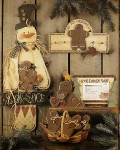 Tole Painting Book Pattern - A Cinnamon Year - By Monika Brint - Snowmen, Gingerbread Men, Ghosts Hallowe'en Cats Pumpkins Copyright 1998 Christmas Wood Crafts, Christmas Projects, Page Decoration, Snowman Ornaments, Snowmen, Tole Painting Patterns, Bazaar Ideas, Cat Pumpkin, Painted Books