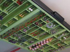 Jewelry Box apple green with stud slots via Etsy