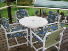 Free PVC Projects & Plans - Patio Chair - Ideas of Patio Chair - PVC Patio chair plans free pdf Pvc Patio Furniture, Bar Furniture, Outdoor Furniture Sets, Outdoor Decor, Furniture Plans, Patio Table, Patio Chairs, Dining Chairs, Pvc Chair