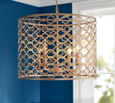 "Delphine Trellis Pendant | Pottery Barn Hand finished in Antique Silver. 23"" diameter, 17.5"" high w/ 10' long cord. (4) 40 watt bulbs."