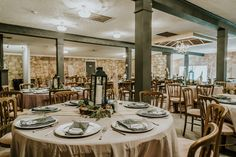 Grey Linen, Dusty Blue Napkins, Cheesecloth Runner  P.C. Misty Mclendon Photography Wood Stumps, Texas Hill Country, Cheese Cloth, Tree Lighting, Twinkle Lights, Dusty Blue, Lanterns, Wedding Venues, Table Settings