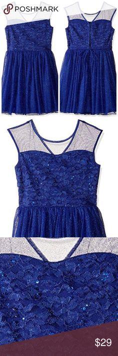 Speechless Kids blue sparkle lace party Easter keyhole dress 7 8 10 12 14 $68