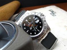 Rolex-Black-Explorer II-16570T on Solid NATO End Link custom made for Rolex models : GMT, Submariner, Explorer, Daytona + Set of Two NATO straps, Brush [NEP2-NATOB-XX]