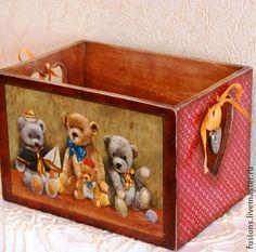 "Короб ""Мишки"" - мишки,короб,игрушки,винтаж,бантик,сердечко,дерево"