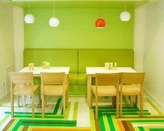 Colorful small restaurant design with parquet flooring    http://interiormagz.com/flooring/colorful-small-restaurant-design-with-parquet-flooring/