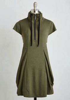Fresh Flow Dress in Olive by Kensie - Green, Solid, Pockets, Casual, Shift, Short Sleeves, Fall, Knit, Better, Short, Variation