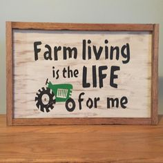 Sign is made from all reclaimed wood and frame is made from an old KY tobacco stick brought back to life by running through planer. Tractor Bedroom, Farm Bedroom, Rustic Crafts, Rustic Decor, Wood Crafts, Cabin Signs, Farm Signs, Pallet Art, Pallet Signs