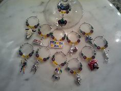 Mardi Gras Wine Charms with Pouch set of 12 v3 by pchum on Etsy, $29.00