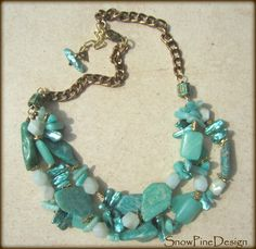 Mermaid Dreams Russian Amazonite, Stick Pearl and Brass Necklace by SnowPineDesign on Etsy