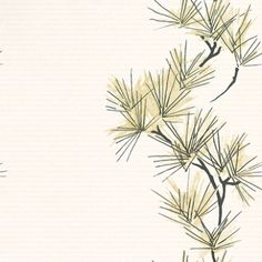 Entwine (75476) - Harlequin Wallpapers - An oriental inspired pine tree design with a column of branches giving a stripe effect set on background with fine lines of dots. Available in 6 colours. Shown in the pale pistachio green on cream. Please ask for sample for true colour match.