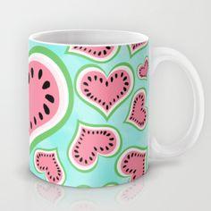 """Watermelon Love..."" Mug by Lisa Argyropoulos on Society6."