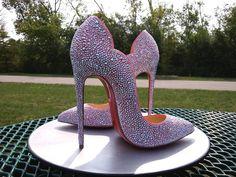 Louboutin Hot Chick 130mm - Strass Heels Bling Wedding Shoes, Wedding Sneakers, Bling Shoes, Custom Bow Ties, Disney Coffee Mugs, Roshe Sneakers, My Boutique, Sexy Heels, Custom Sneakers