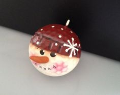 Handpainted Upcycled Snowman Golf Ball Ornament by Suzyscreations2