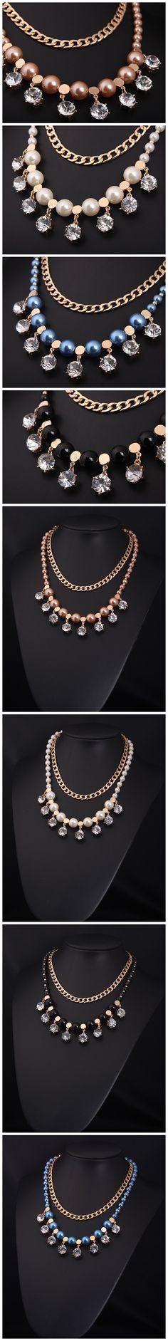 Wholesale Doble cadena de calidad capa y collar de perlas y cristal (azul) | Callesetas