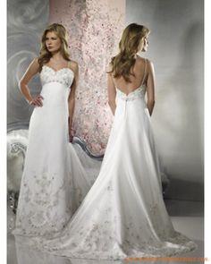 Une ligne Empire Robe de mariée 2011 satin avec broderie