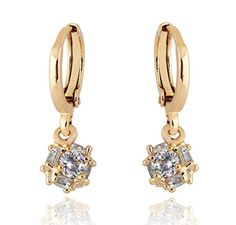YUSHENG Top 18K Gold Filled Crystal Ball Dangle Charm Earring - Jewelry For Her