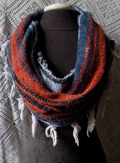 Burnt Orange and Navy Mexican Blanket Large Cowl Scarf With Fringe- Free Shipping to Continental US $20.00